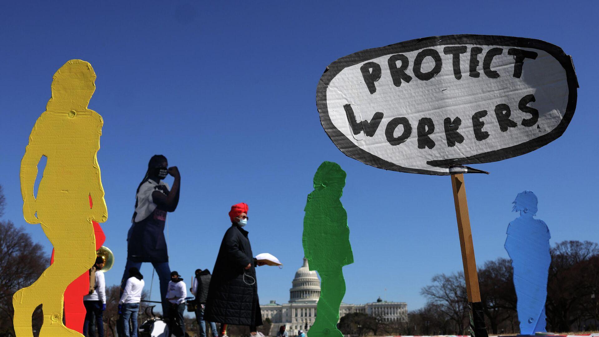 Manifestación de los trabajadores en EEUU (Archivo) - Sputnik Mundo, 1920, 01.05.2021