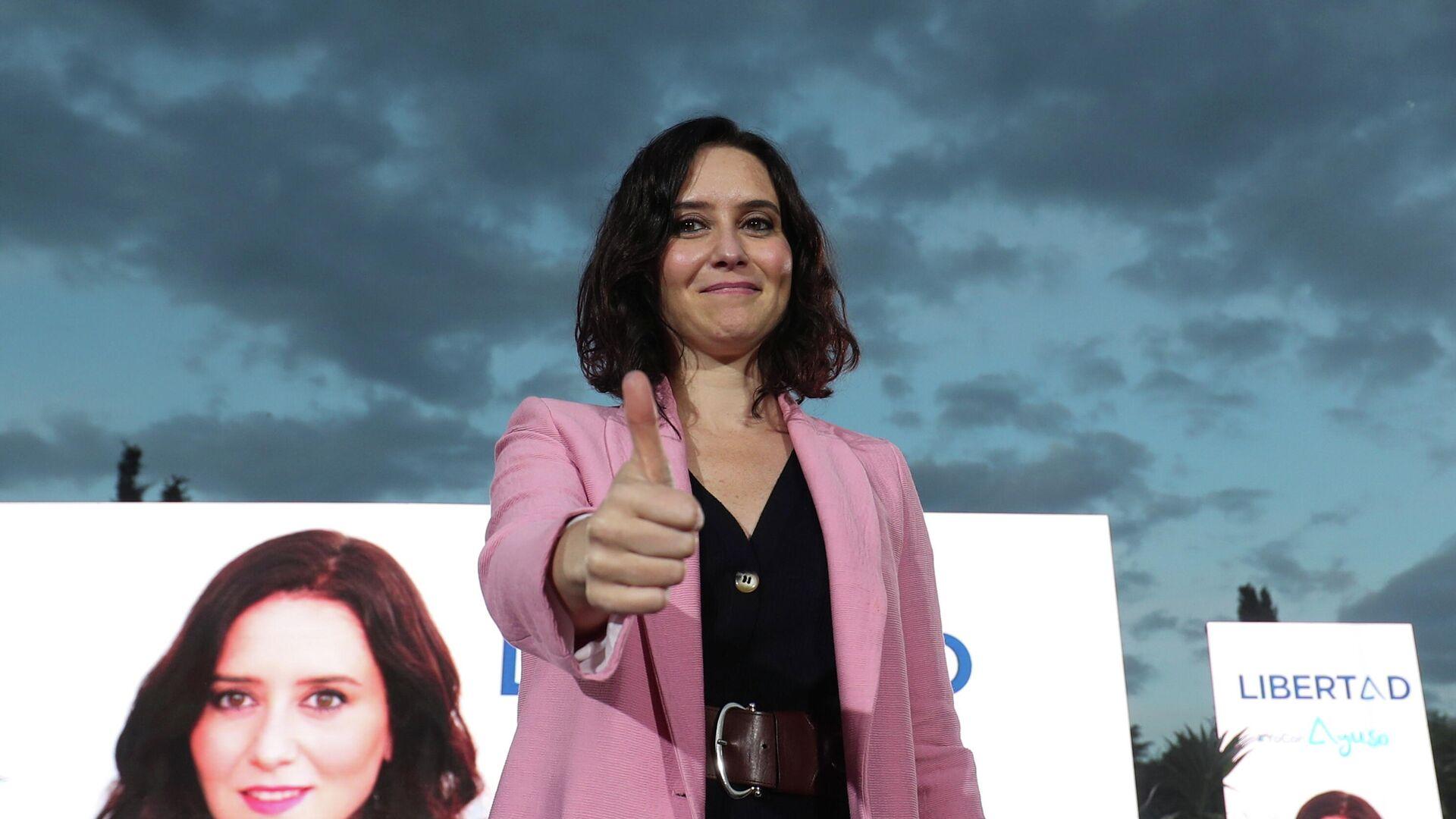 Isabel Díaz Ayuso en el cierre de campaña electoral en Madrid, España - Sputnik Mundo, 1920, 02.05.2021