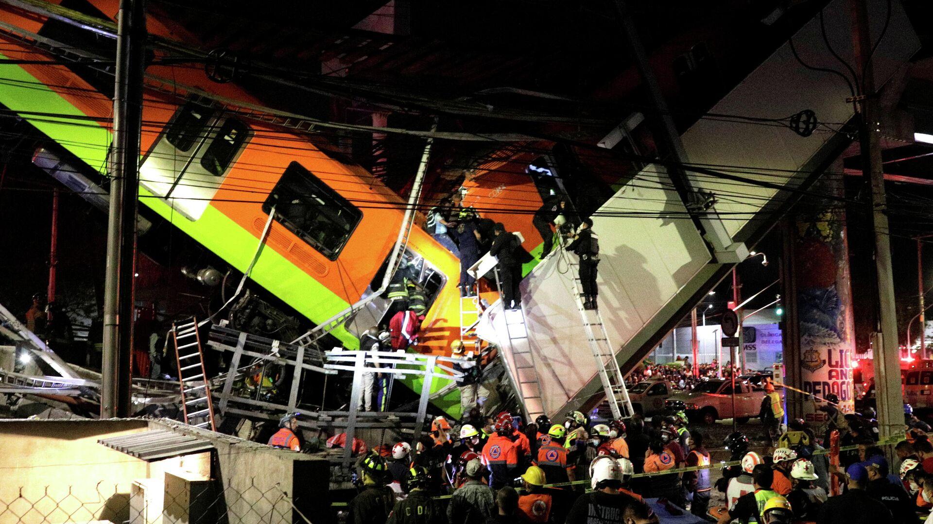 Desploma convoy del Metro; preliminar varios muertos y heridos