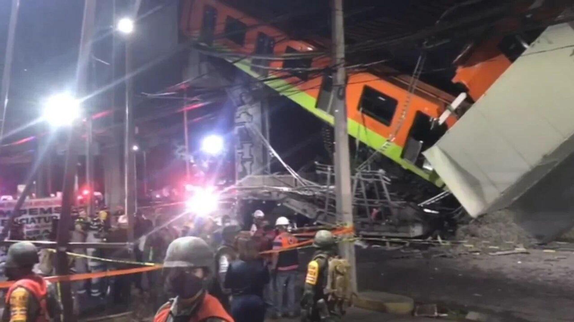 Un dron capta el mortal derrumbe de un puente del metro en México - Sputnik Mundo, 1920, 04.05.2021