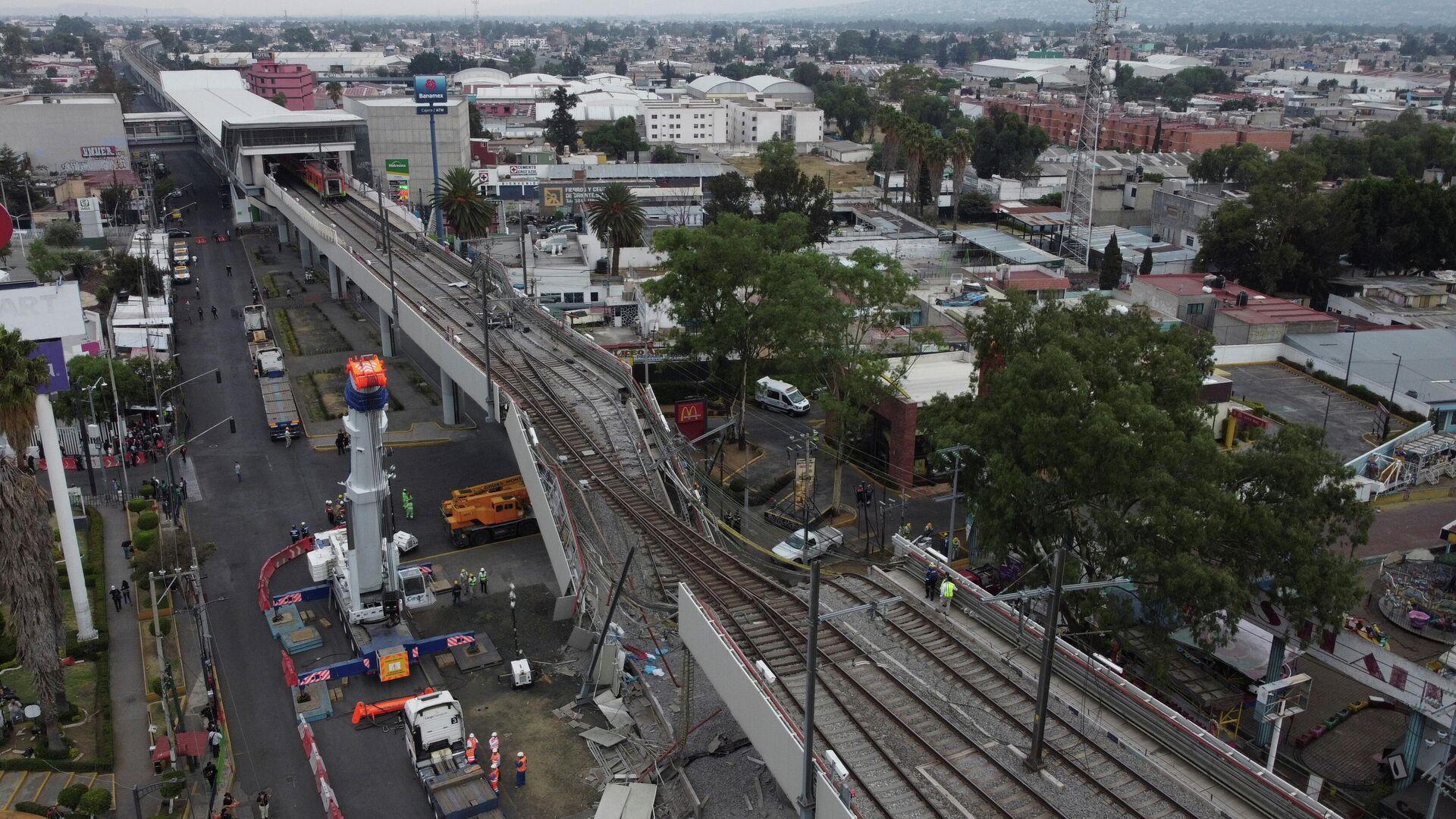 Lugar del derrumbe del puente en México - Sputnik Mundo, 1920, 05.05.2021