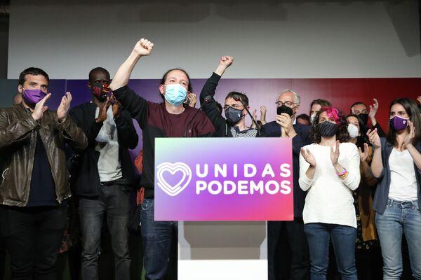 El candidato de Unidas Podemos a la Presidencia de la Comunidad de Madrid, Pablo Iglesias, anunció su retirada de la política tras la jornada electoral del 4 de mayo. - Sputnik Mundo