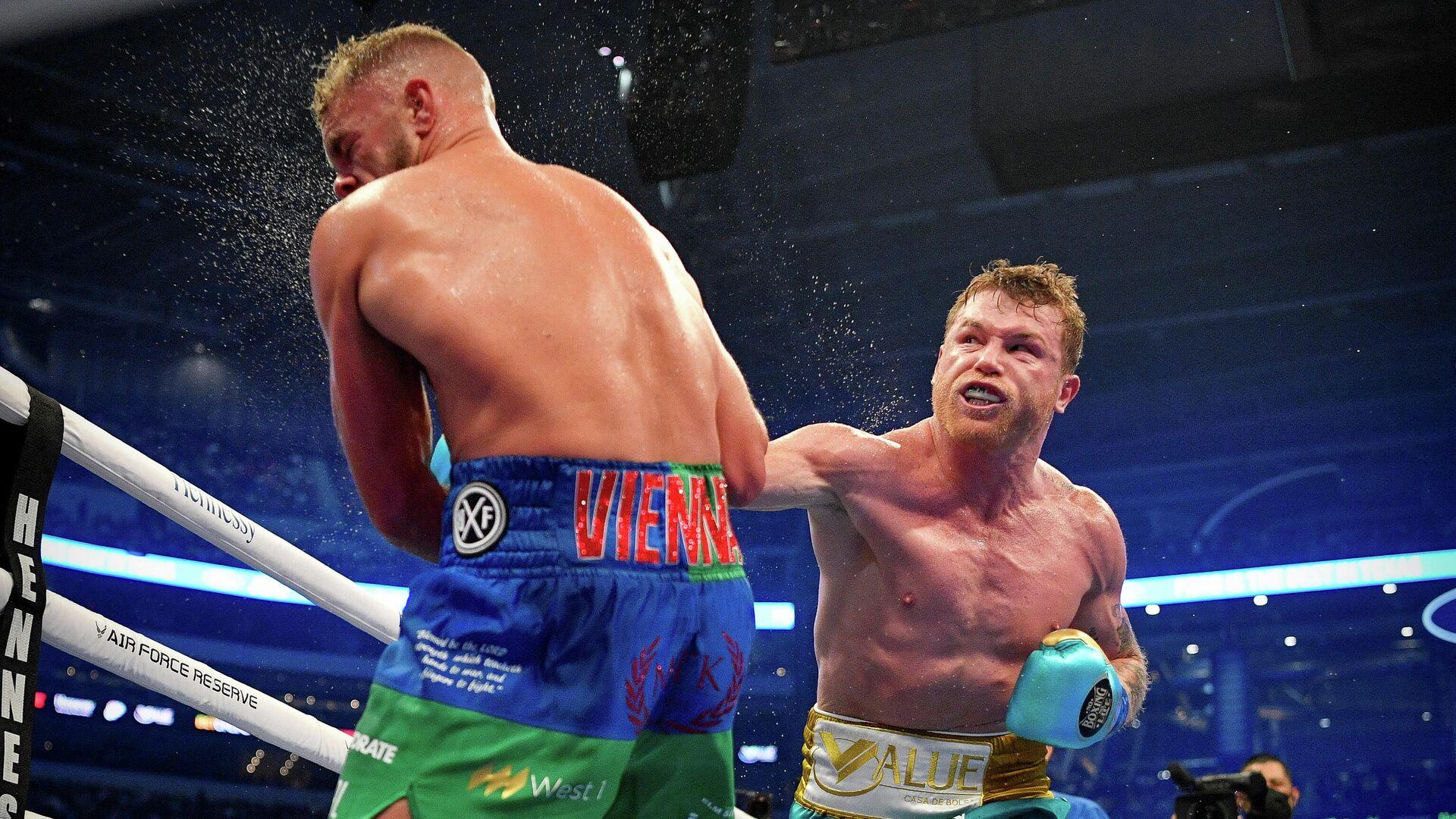 La pelea entre el boxeador mexicano Saúl 'Canelo' Álvarez y el boxeador inglés Billy Joe Saunders - Sputnik Mundo, 1920, 09.05.2021