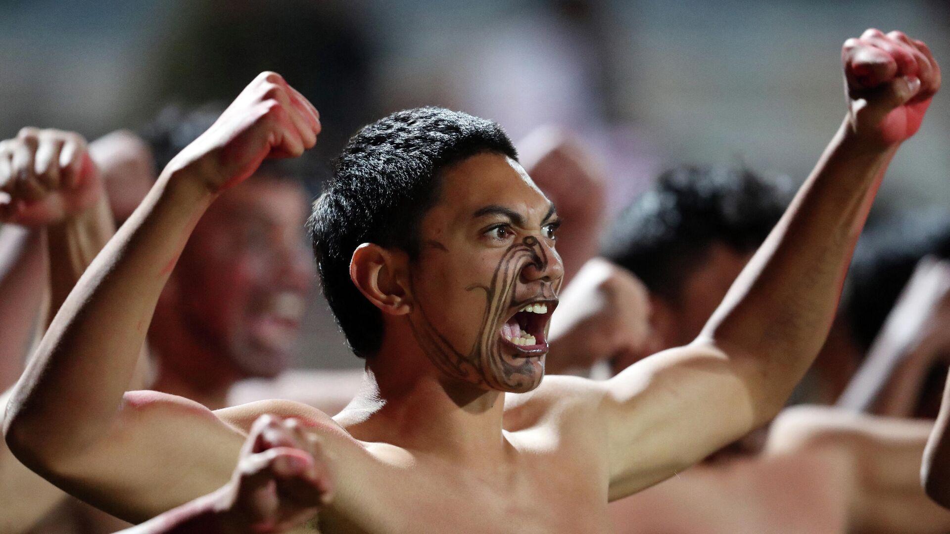 Un guerrero maorí durante una celebración en un torneo de rugby de 2018 - Sputnik Mundo, 1920, 14.05.2021