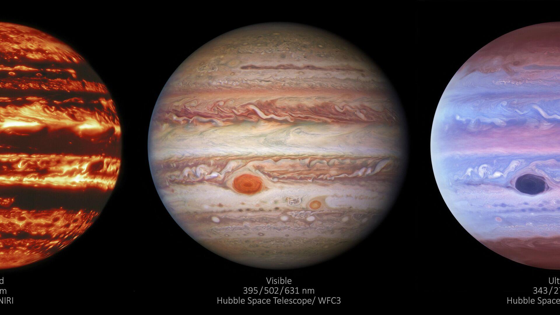 Tres imágenes de Júpiter hecha en distintas longitudes de ondas - Sputnik Mundo, 1920, 12.05.2021