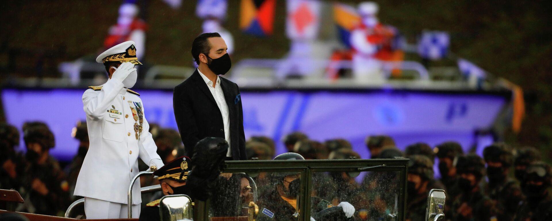 El presidente de El Salvador, Nayib Bukele, durante un desfile militar el 7 de mayo de 2021 - Sputnik Mundo, 1920, 12.05.2021