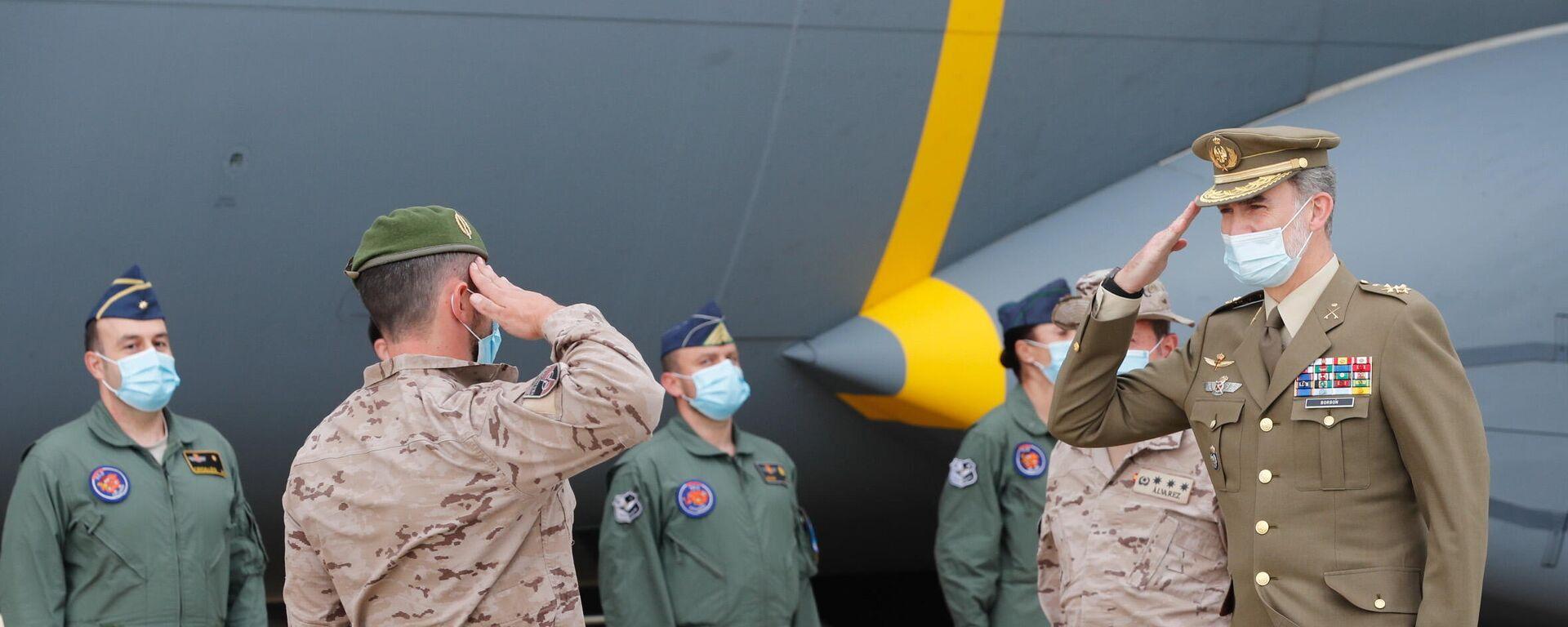 El rey Felipe VI en la Base Aérea de Torrejón (Madrid) para presidir el acto de reconocimiento al personal participante en misiones en Afganistán. - Sputnik Mundo, 1920, 13.05.2021