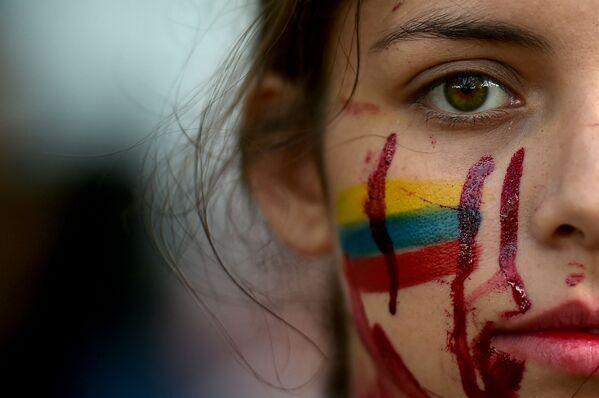 Una de las participantes en una protesta antigubernamental en Cali (Colombia).  - Sputnik Mundo