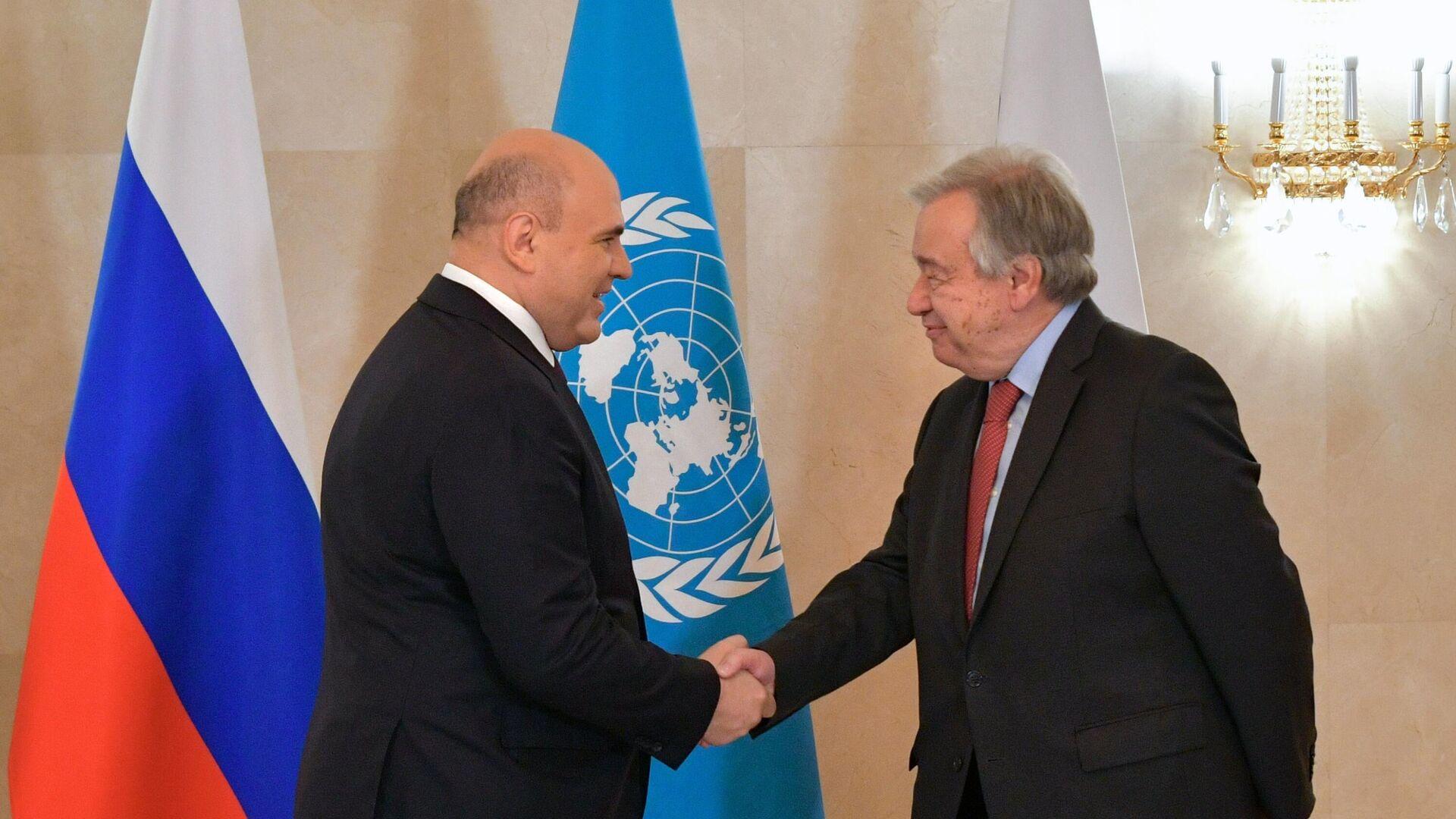 El secretario general de la ONU, António Guterres, (dcha.), con el el primer ministro ruso Mijaíl Mishustin (izda.)  - Sputnik Mundo, 1920, 14.05.2021