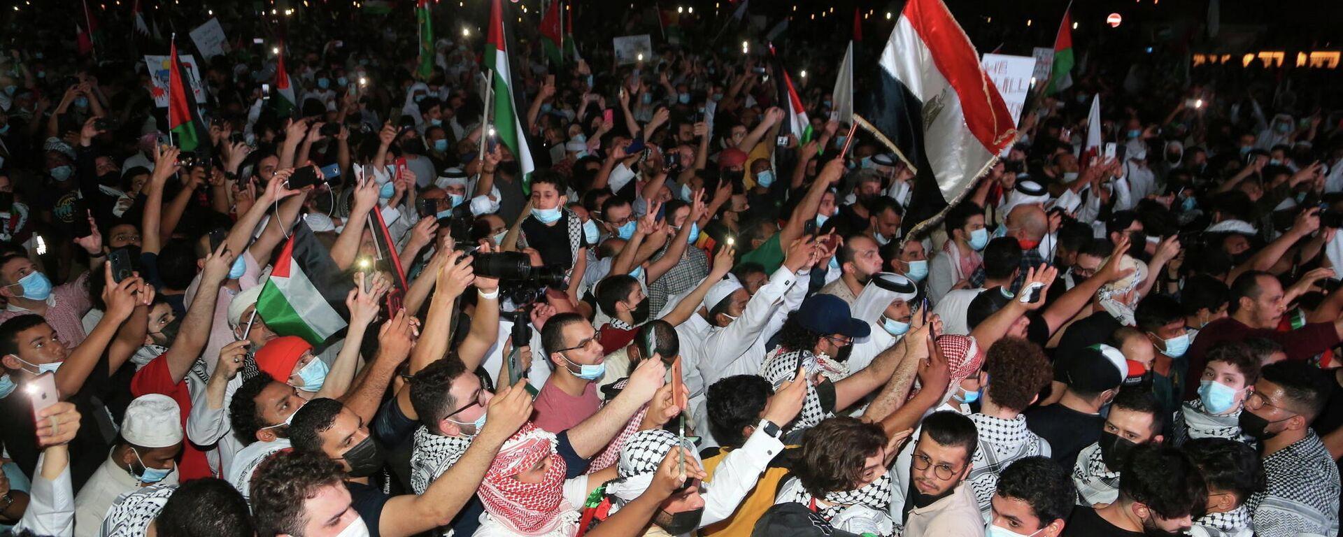 Manifestación en apoyo a Palestina en Doha, Catar - Sputnik Mundo, 1920, 16.05.2021