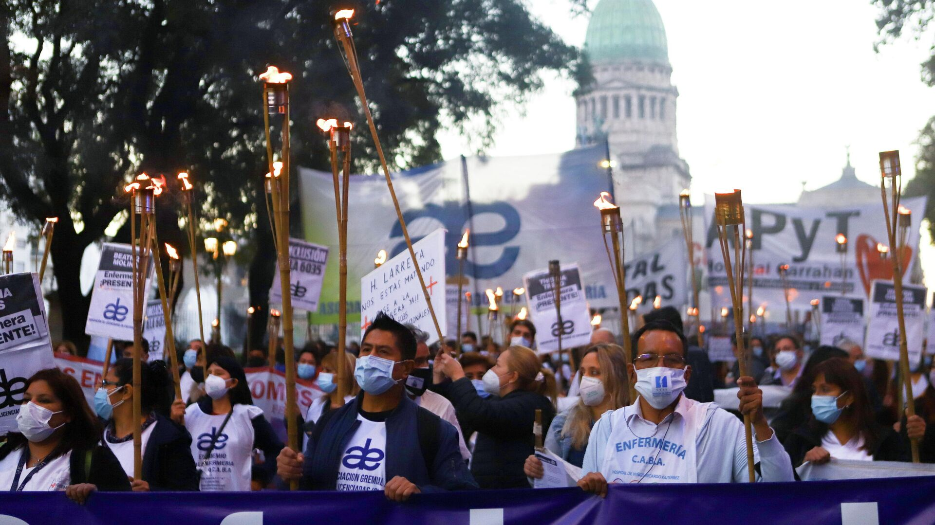 Protesta de los trabajadores de la salud en Buenos Aires, Argentina - Sputnik Mundo, 1920, 19.05.2021