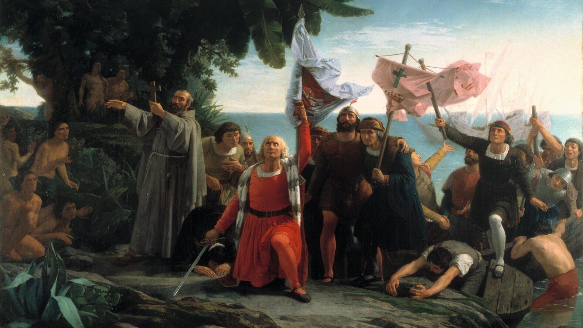 Primer desembarco de Cristóbal Colón en América (Dióscoro Puebla, 1862) - Sputnik Mundo, 1920, 20.05.2021