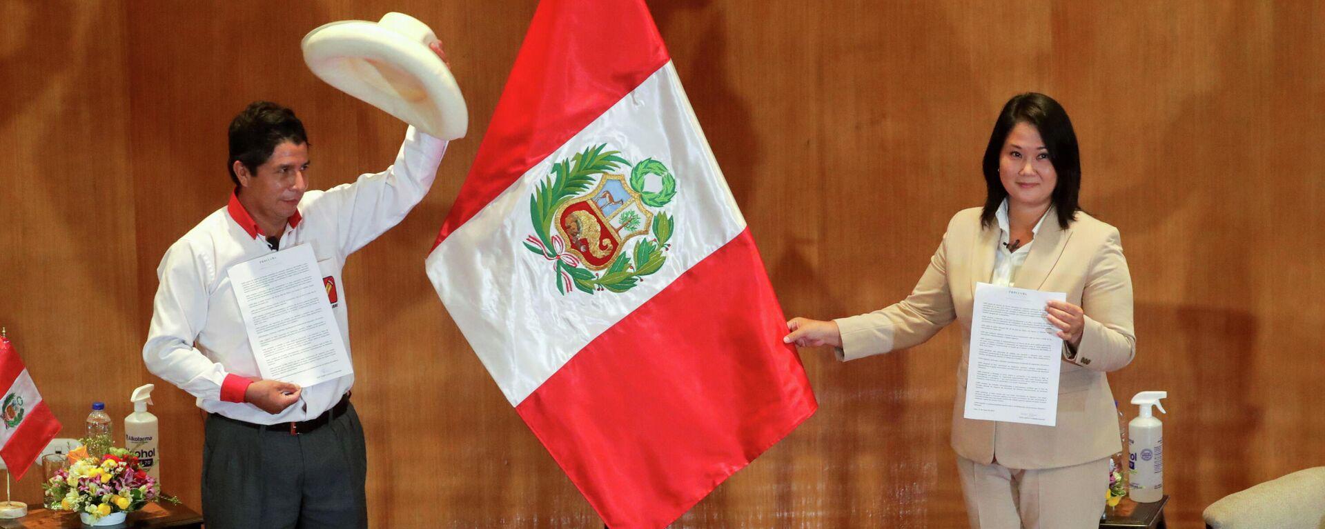 Los candidatos Pedro Castillo (Perú Libre, izquierda) y Keiko Fujimori (Fuerza Popular, derecha) - Sputnik Mundo, 1920, 24.05.2021