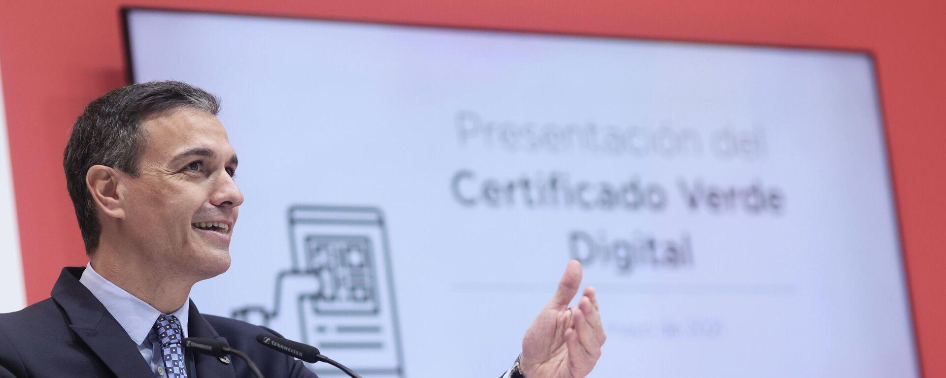 El presidente del Gobierno, Pedro Sánchez, en la presentación del certificado verde digital en Fitur - Sputnik Mundo, 1920, 21.05.2021