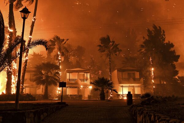 El incendio forestal en el pueblo de Schinos, cerca de Corinto (Grecia).  - Sputnik Mundo