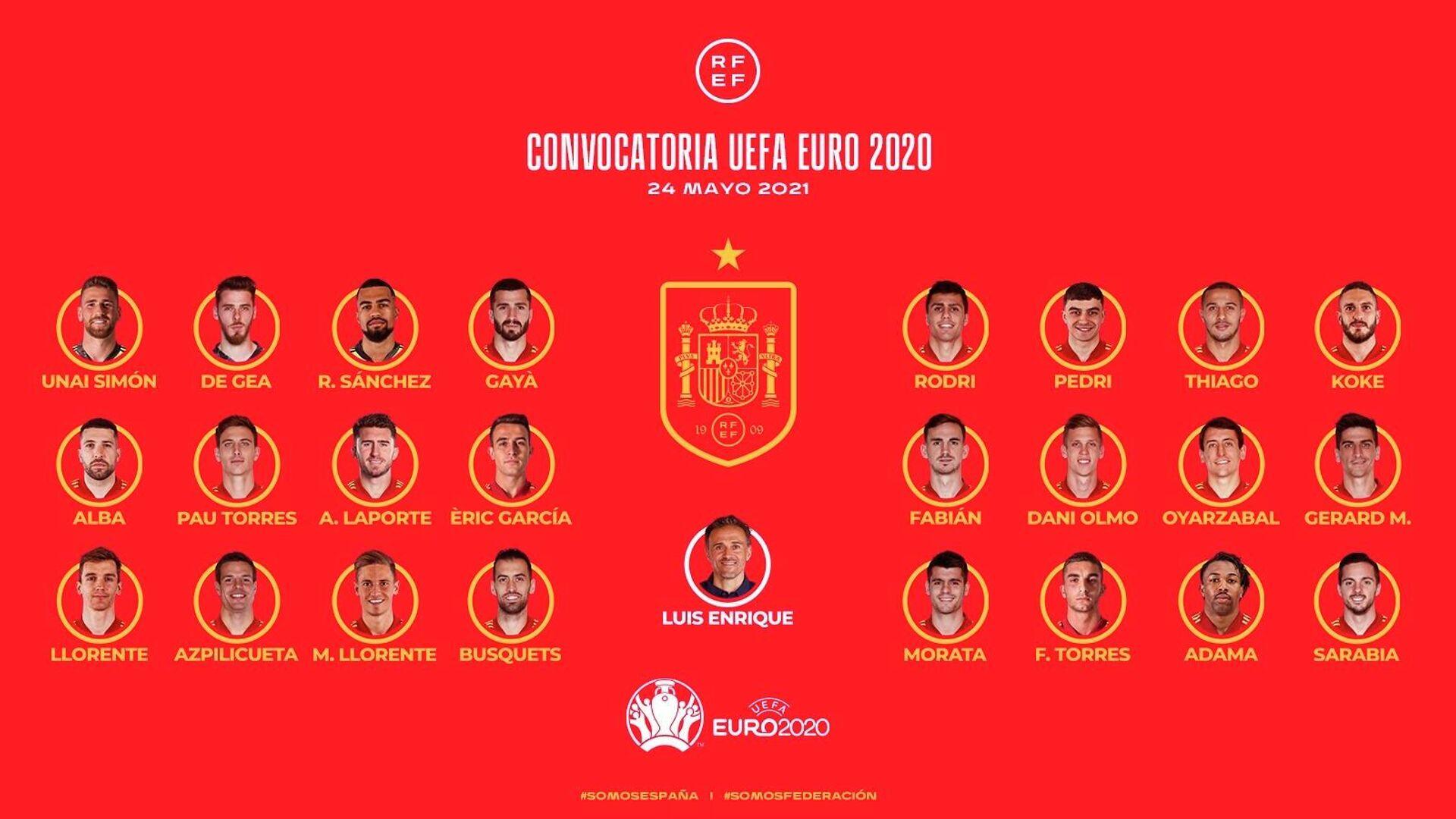 Lista de España para la Eurocopa - Sputnik Mundo, 1920, 24.05.2021