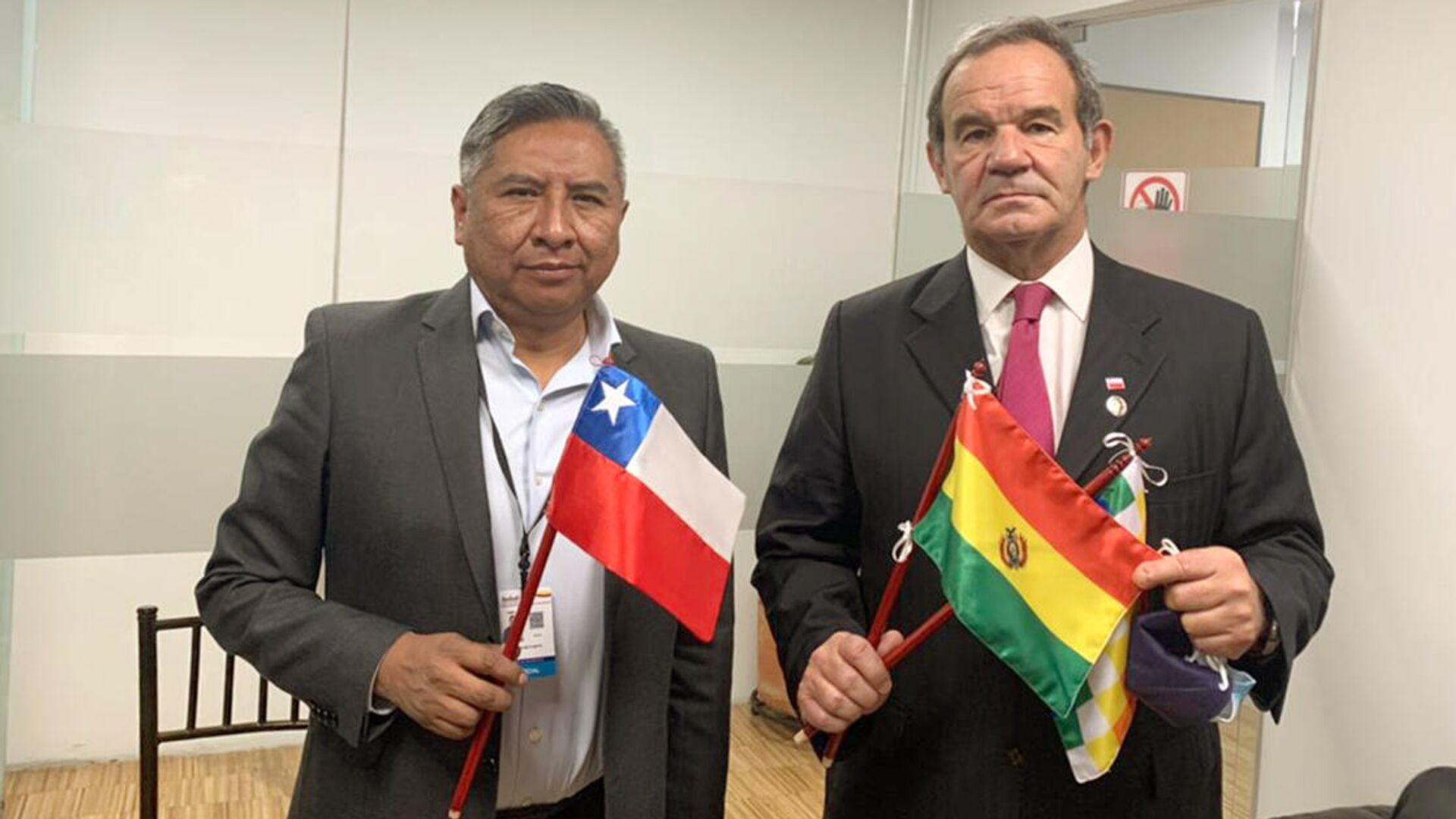 El canciller de Bolivia, Rogelio Mayta, con su homólogo chileno, Andrés Allamand - Sputnik Mundo, 1920, 24.05.2021