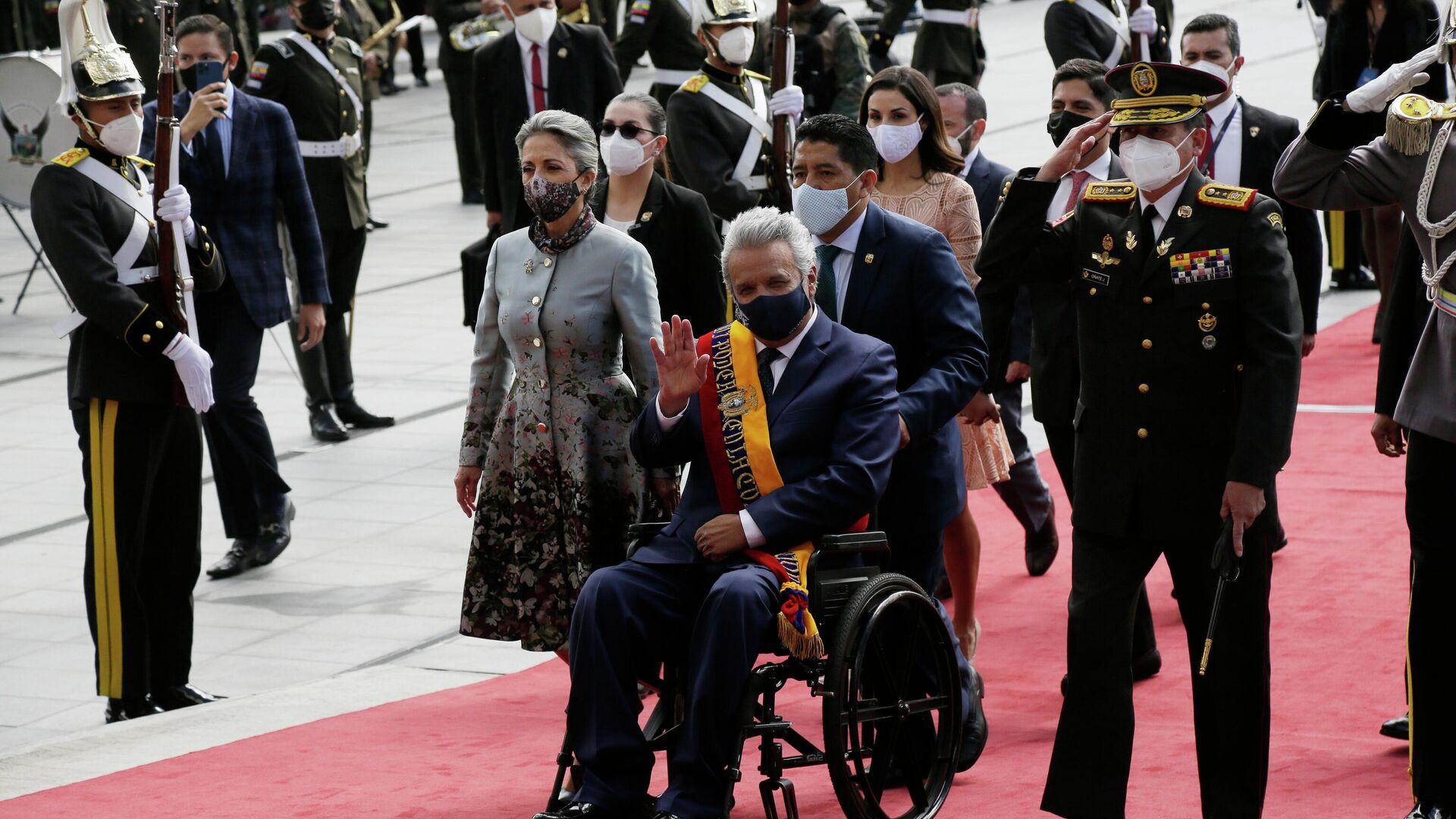 El presidente de Ecuador Lenín Moreno arribando a la ceremonia de asunción de su sucesor Guillermo Lasso - Sputnik Mundo, 1920, 24.05.2021