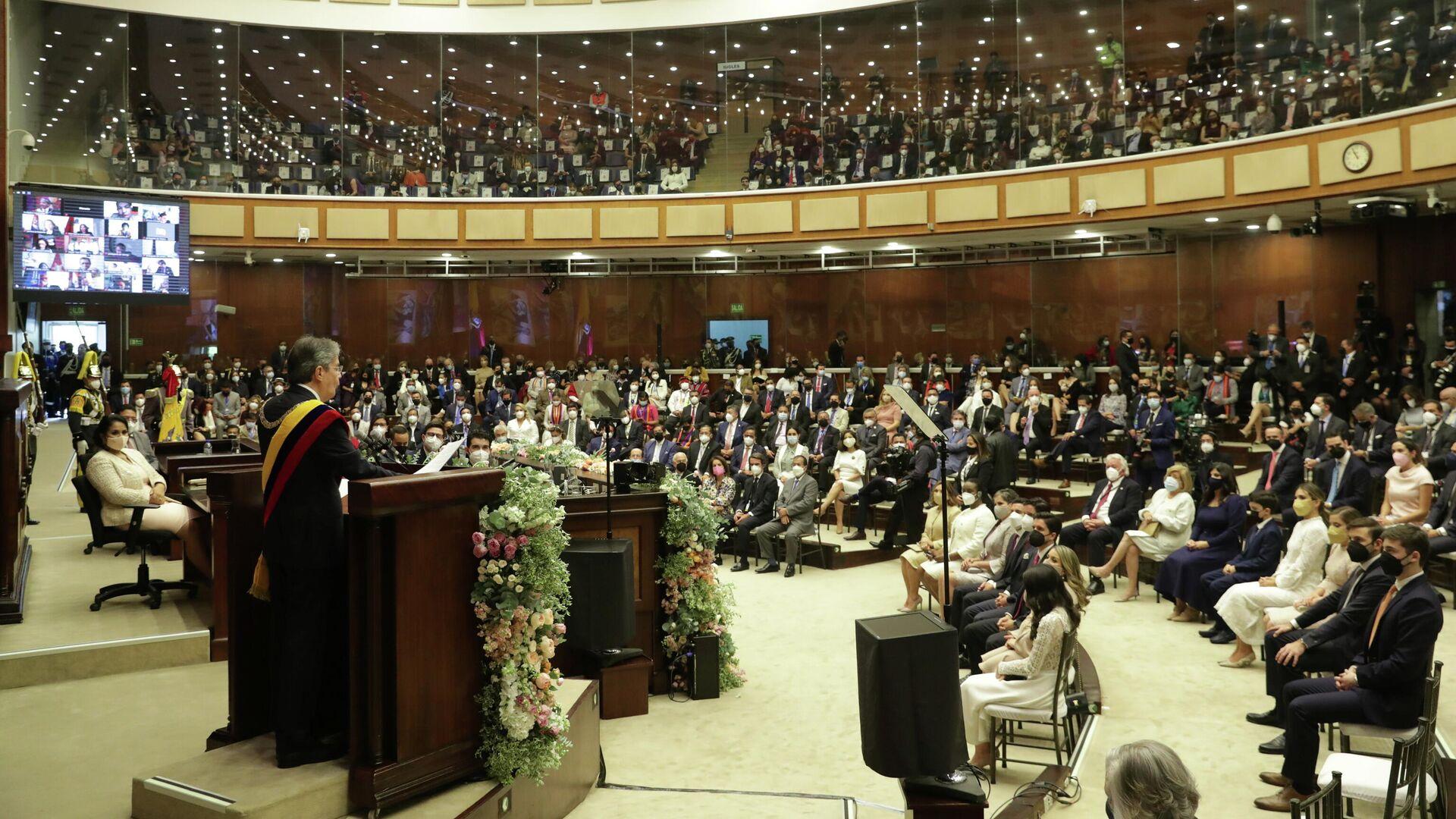 El presidente ecuatoriano, Guillermo Lasso, en la Asamblea Nacional - Sputnik Mundo, 1920, 25.05.2021