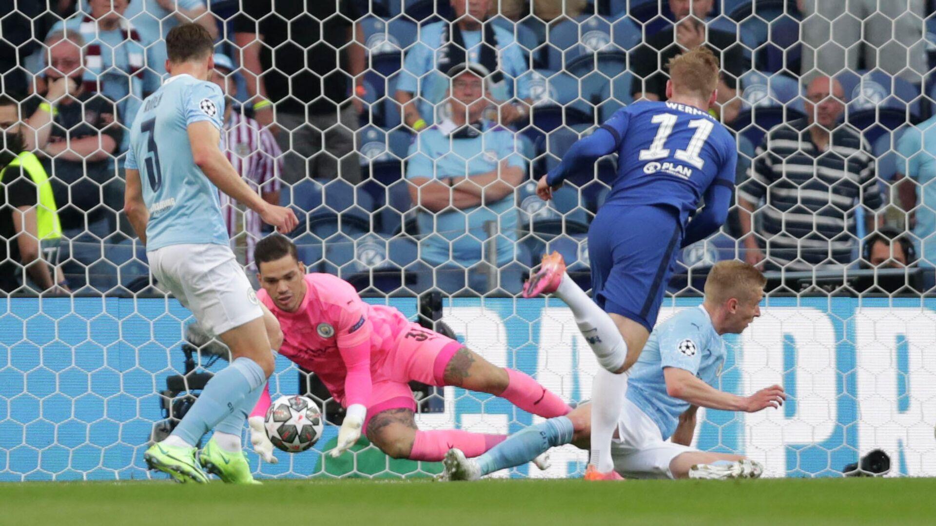 Timo Werner, delantero del Chelsea, intenta marcar un gol durante la final de la Liga de Campeones de la UEFA en Porto (Portugal), el 29 de mayo del 2021 - Sputnik Mundo, 1920, 30.05.2021