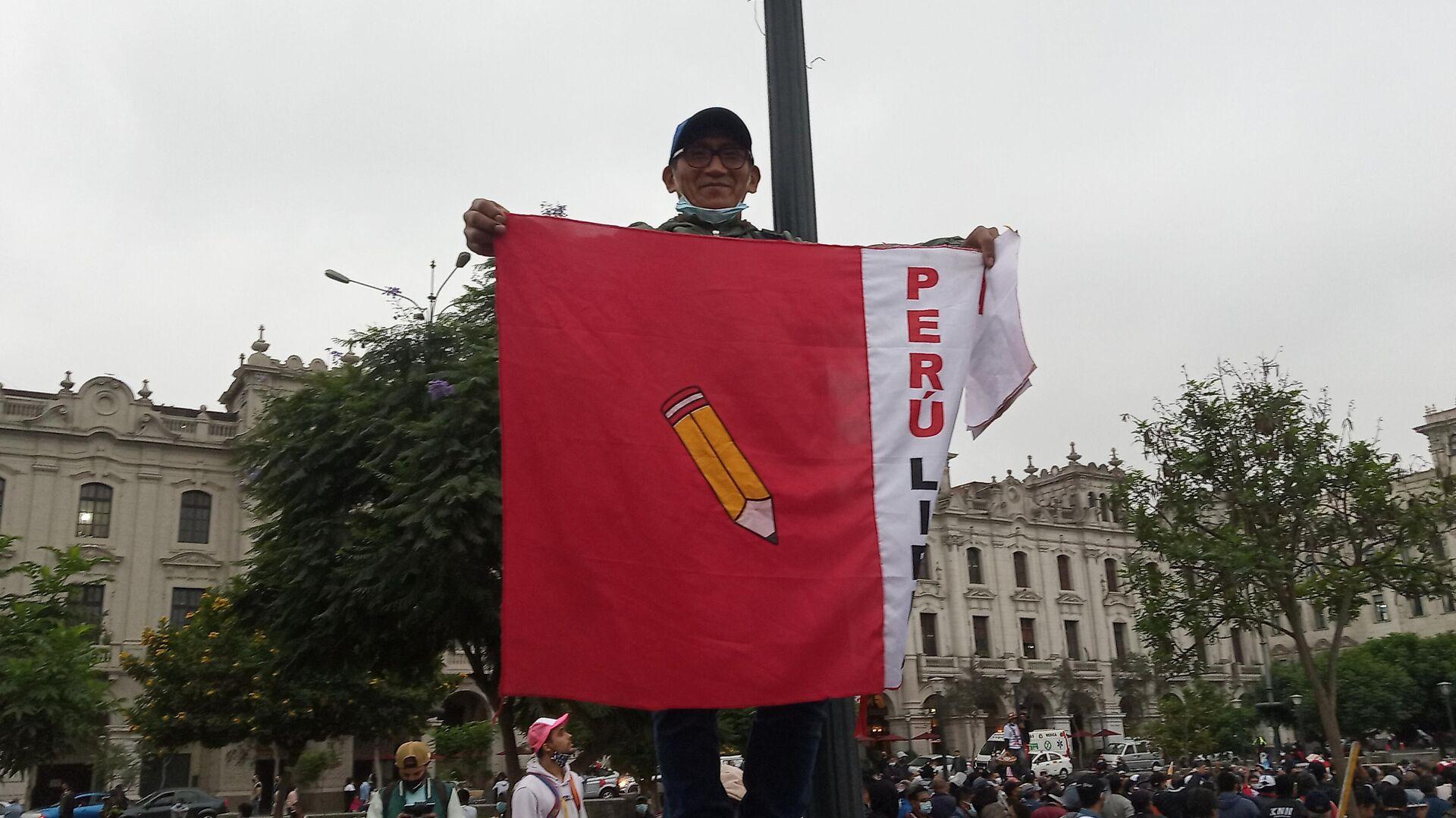 Manifestante en apoyo a Pedro Castillo en Lima - Sputnik Mundo, 1920, 01.06.2021
