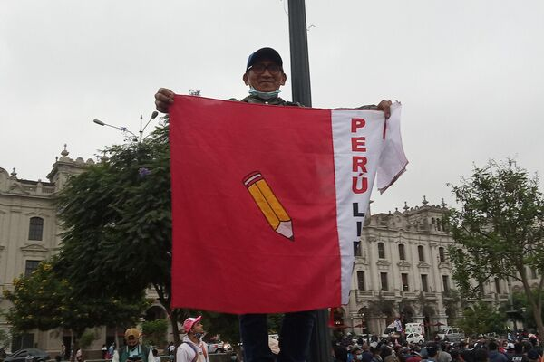 Manifestante en apoyo a Pedro Castillo en Lima - Sputnik Mundo