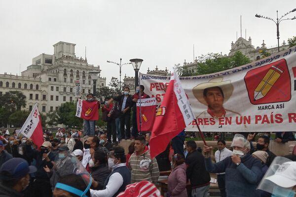 Acto a favor de Pedro Castillo en la plaza San Martín de Lima - Sputnik Mundo