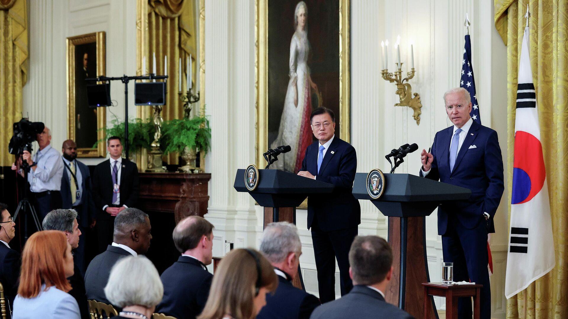 La cumbre de los presidentes de Corea del Sur y Estados Unidos, Moon Jae-in y Joe Biden - Sputnik Mundo, 1920, 31.05.2021