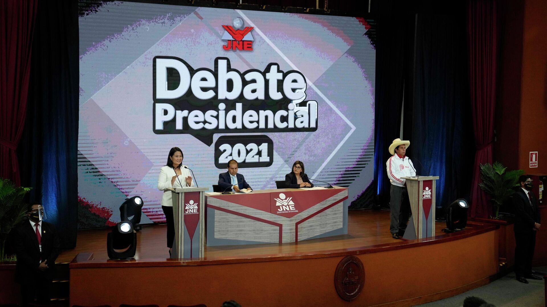 Los dos candidatos presidenciales de Perú, Keiko Fujimori y Pedro Castillo en un debate televisado - Sputnik Mundo, 1920, 31.05.2021