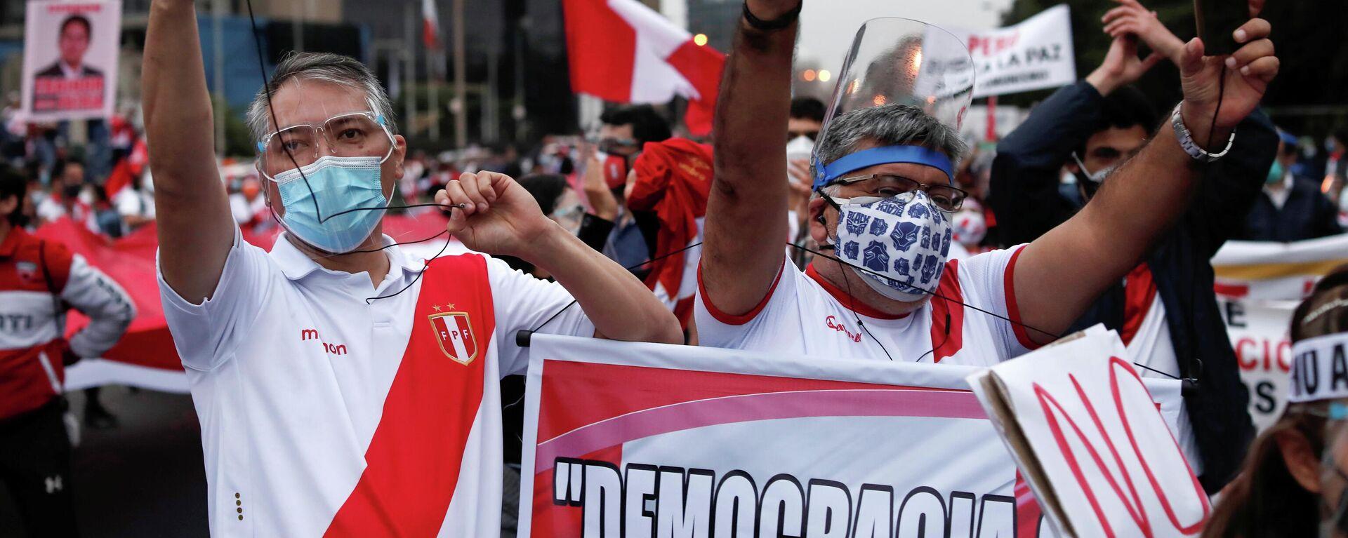 Una manifestación en vísperas de las elecciones presidenciales en Perú - Sputnik Mundo, 1920, 08.06.2021