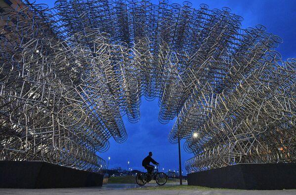 Hoy en día, el mundo está experimentando un nuevo bum de la bicicleta. En la foto: un hombre pasa con su bicicleta delante de una instalación artística denominada 'Forever Cycles' creada por el artista chino Ai Weiwei en Río de Janeiro en 2019.  - Sputnik Mundo