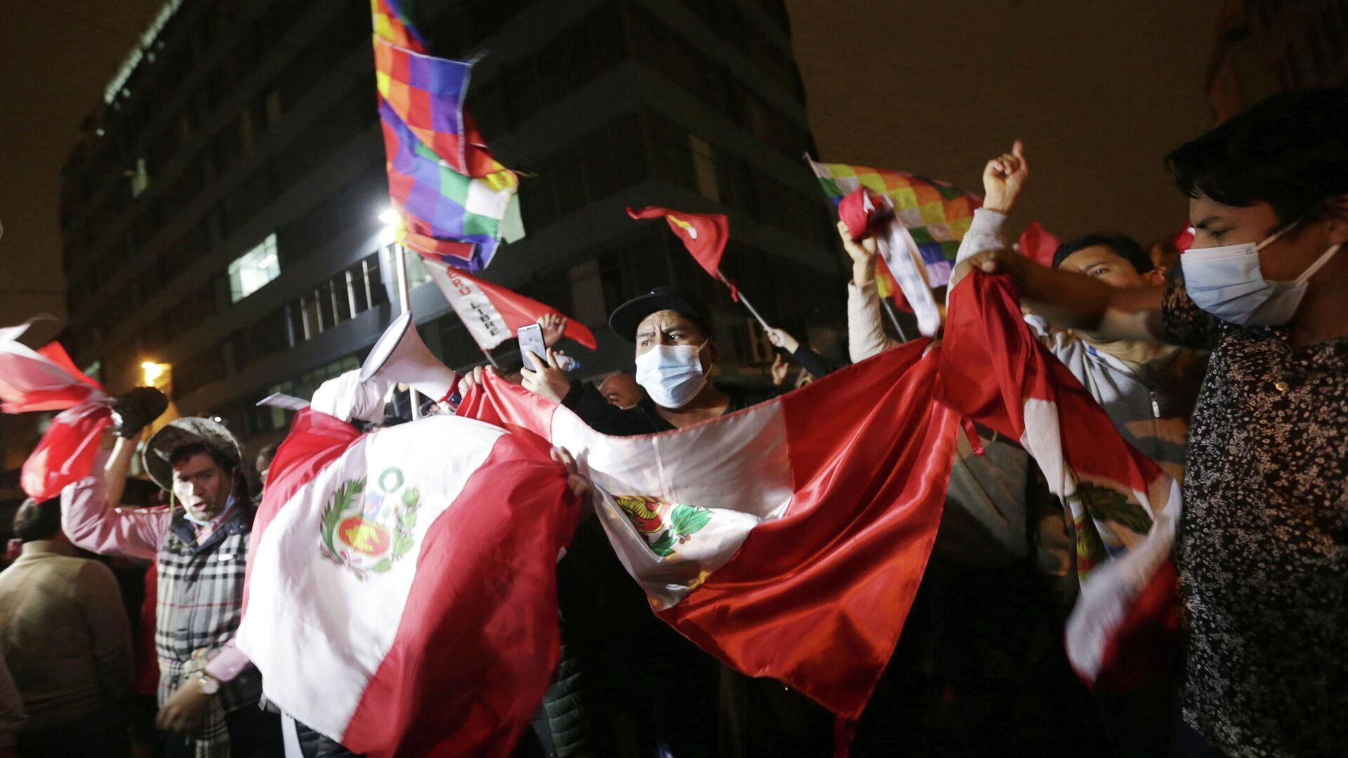 Partidarios del candidato presidencial peruano Pedro Castillo - Sputnik Mundo, 1920, 11.06.2021