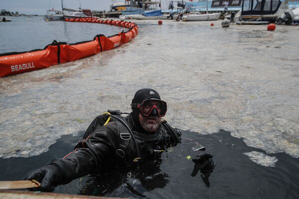 """""""Hoy iniciamos la operación de mayores dimensiones de la historia de Turquía. Depuraremos el mar de mucílago, que amenaza a los peces, a todos los seres vivos y la ecología"""", anunció el ministro de Medioambiente turco, Murat Kurum. En la foto, un buceador cerca del lugar donde se desarrollan las labores de depuración del mar de Mármara, en la playa de Caddebostan, en Estambul.   - Sputnik Mundo"""