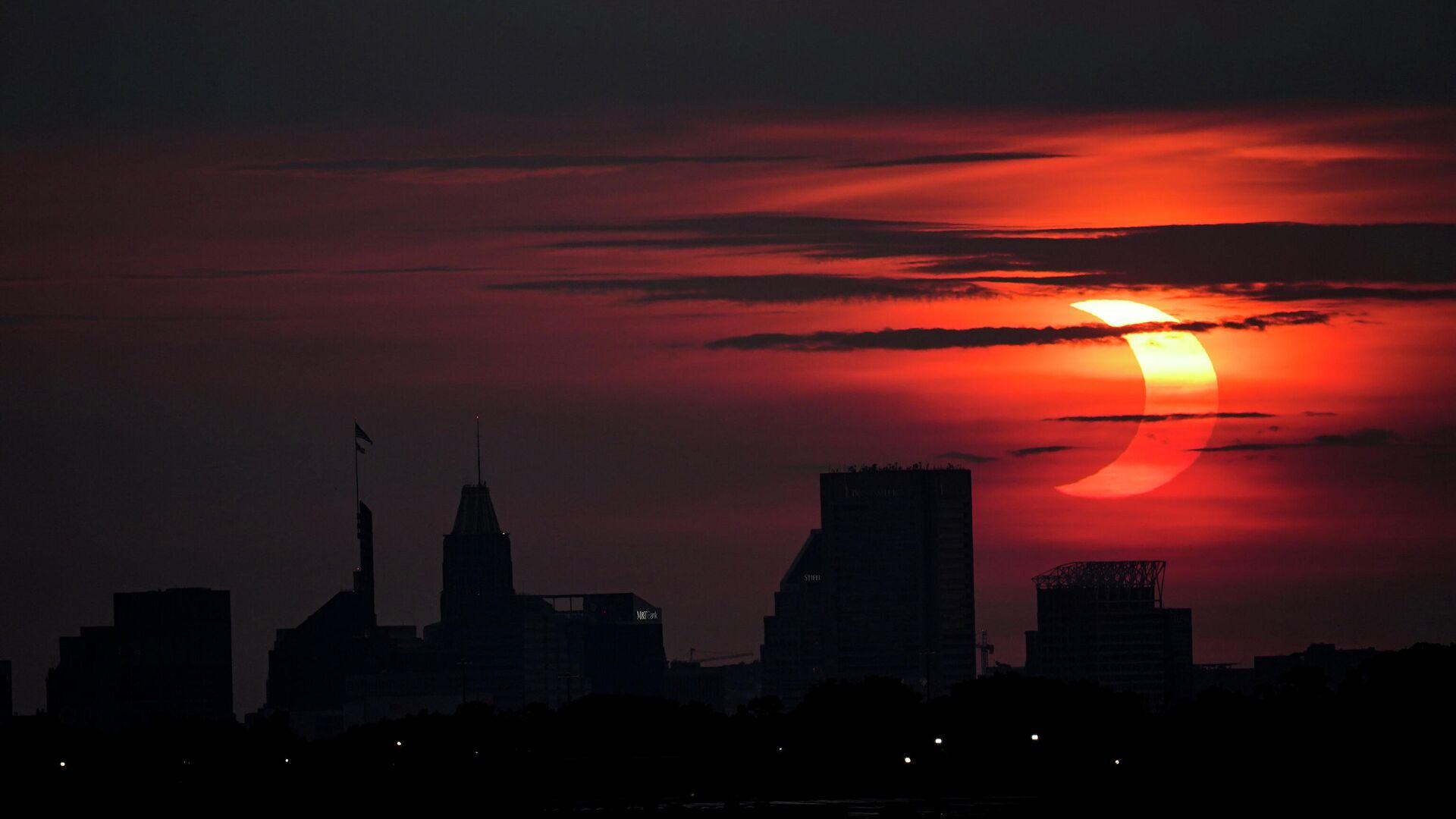 El primer eclipse solar del año visto desde Baltimore, EEUU, el 10 de junio, 2020 - Sputnik Mundo, 1920, 10.06.2021