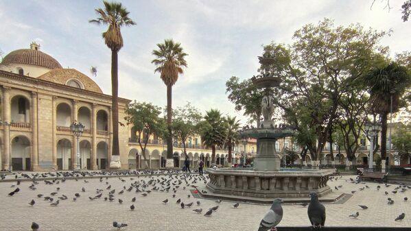 16:44. En la plaza 14 de Septiembre, centro de la Cochabamba, las palomas se adueñaron del escenario, repentinamente abandonado por quienes cotidianamente trajinan alrededor de ellas, así como las personas que compran maíz a los vendedores ambulantes (también desaparecidos) para darles de comer. - Sputnik Mundo