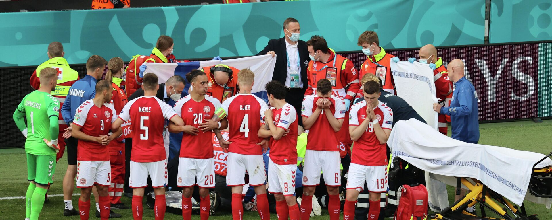 El partido entre Dinamarca y Finlandia Eurocopa 2020 - Sputnik Mundo, 1920, 12.06.2021