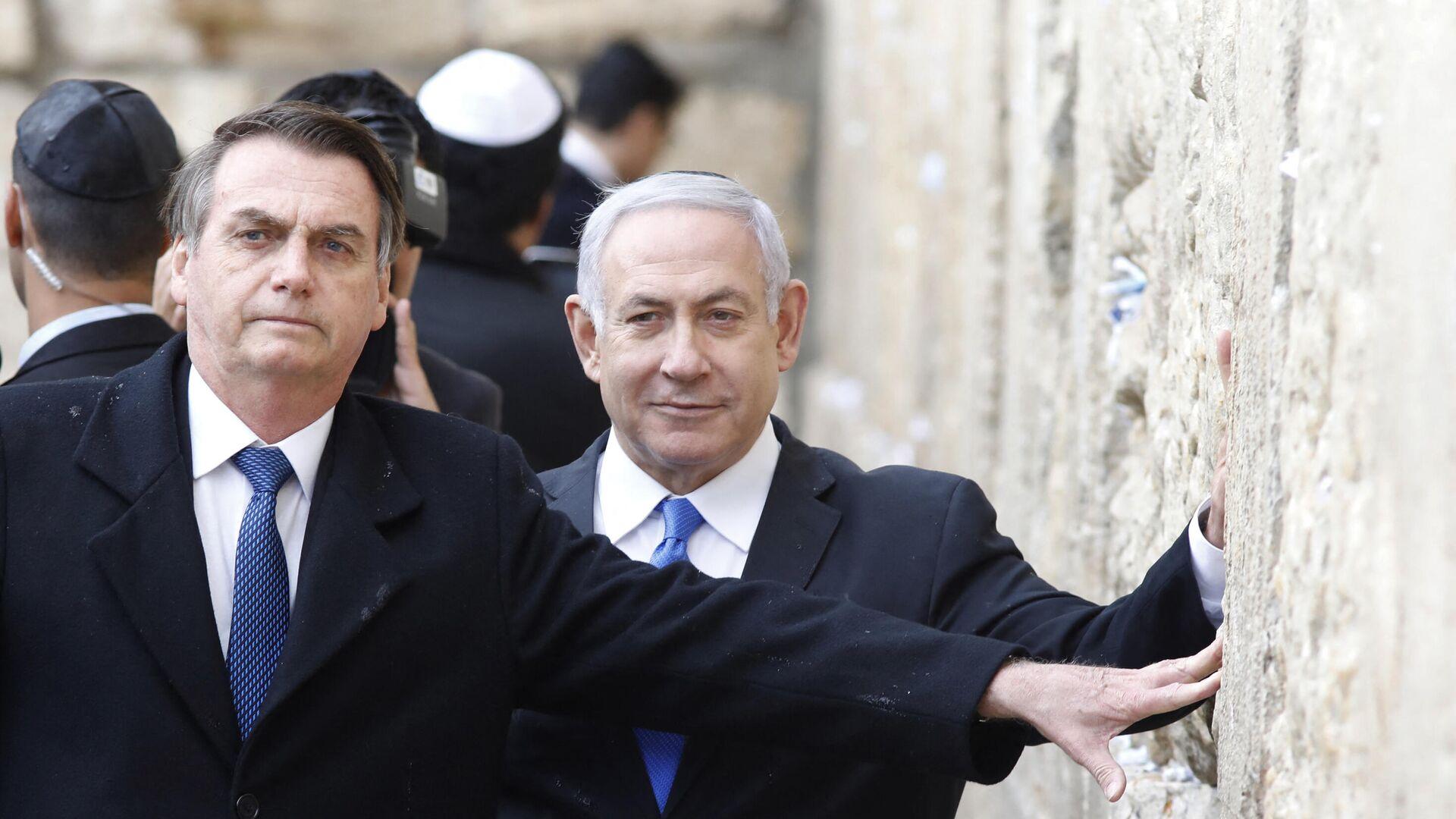 El presidente brasileño Jair Bolsonaro, junto al ex primer ministro de Israel, Benjamin Netanyahu - Sputnik Mundo, 1920, 14.06.2021