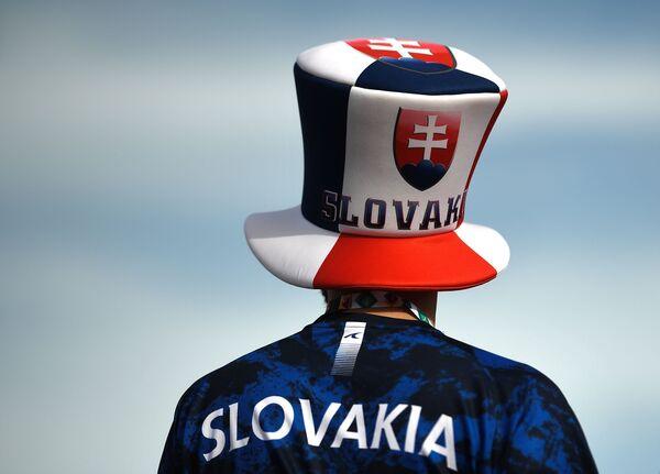 Un aficionado eslovaco en la zona de hinchas del estadio Gazprom Arena de San Petersburgo, Rusia, antes del partido entre Polonia y Eslovaquia. La selección eslovaca ganó por 2-1. - Sputnik Mundo