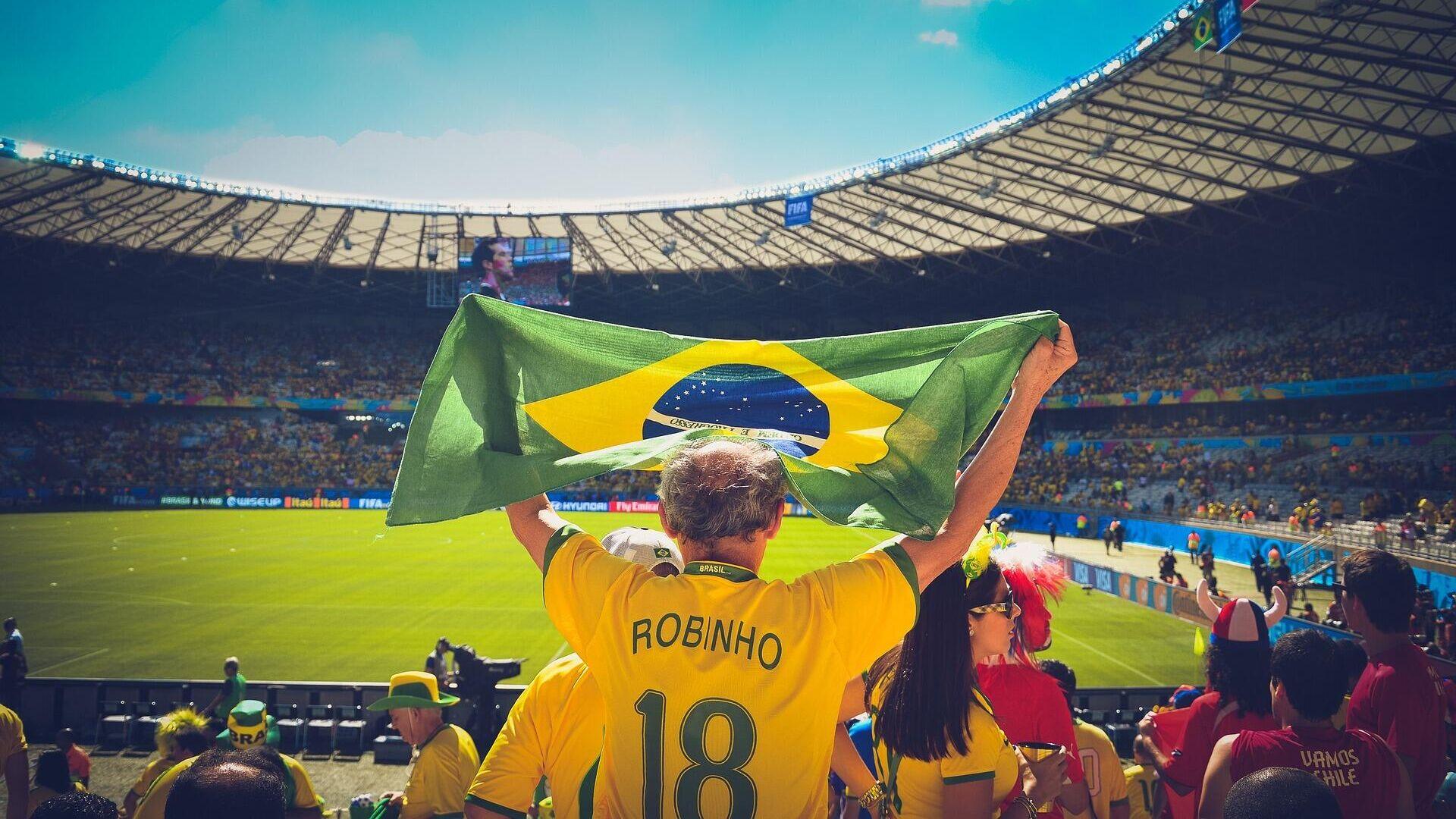 Un simpatizante de Brasil en un estadio de fútbol. Imagen referencial - Sputnik Mundo, 1920, 15.06.2021