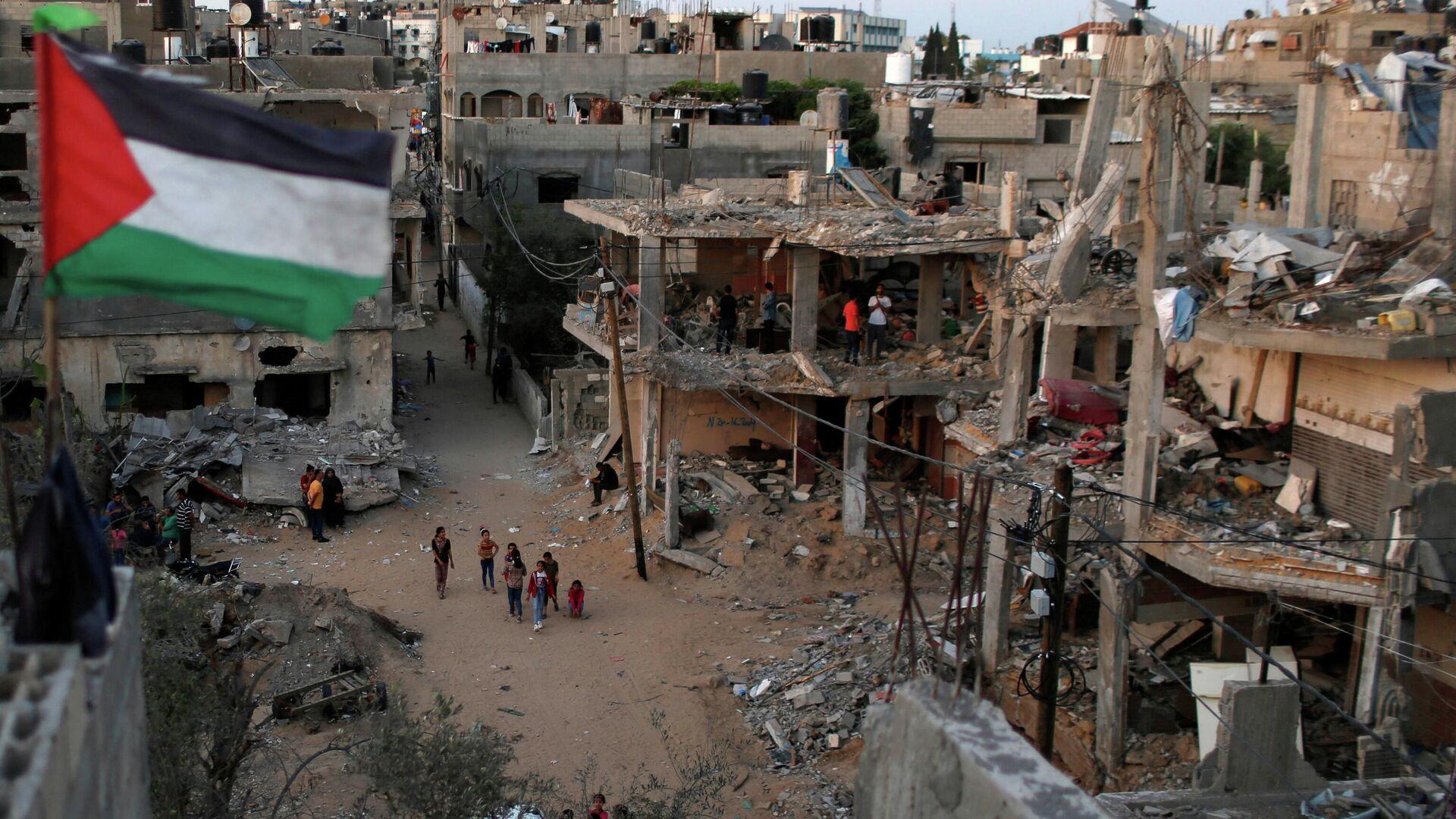 Unos hogares palestinos destruidos en Franja de Gaza  - Sputnik Mundo, 1920, 16.06.2021