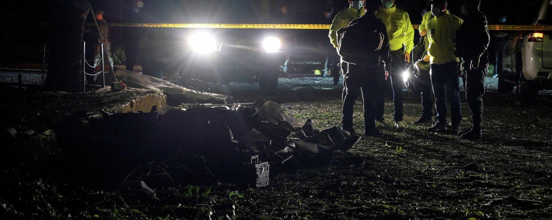 Los restos del coche bomba en Cúcuta (Colombia), el 15 de junio de 2021 - Sputnik Mundo, 1920, 16.06.2021