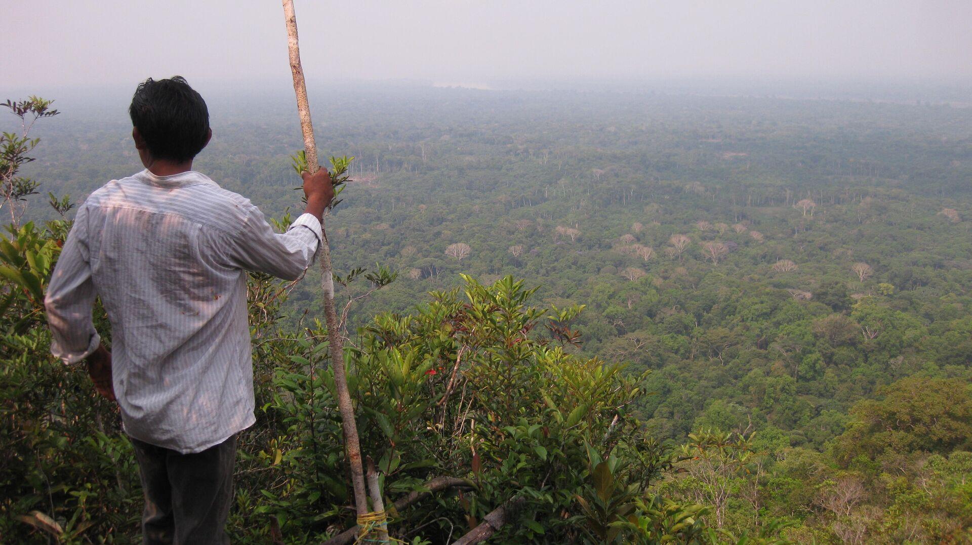 Indígena Yucuna mirando las Tierras Indígenas que habita en la Amazonía, donde se predice que muchas lenguas se extinguirán a fines del siglo XXI - Sputnik Mundo, 1920, 17.06.2021