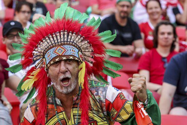Un hincha portugués asiste con un traje colorido al partido entre Hungría y Portugal de la Eurocopa 2020 en el estadio Ferenc Puskas de Budapest (Hungría). - Sputnik Mundo