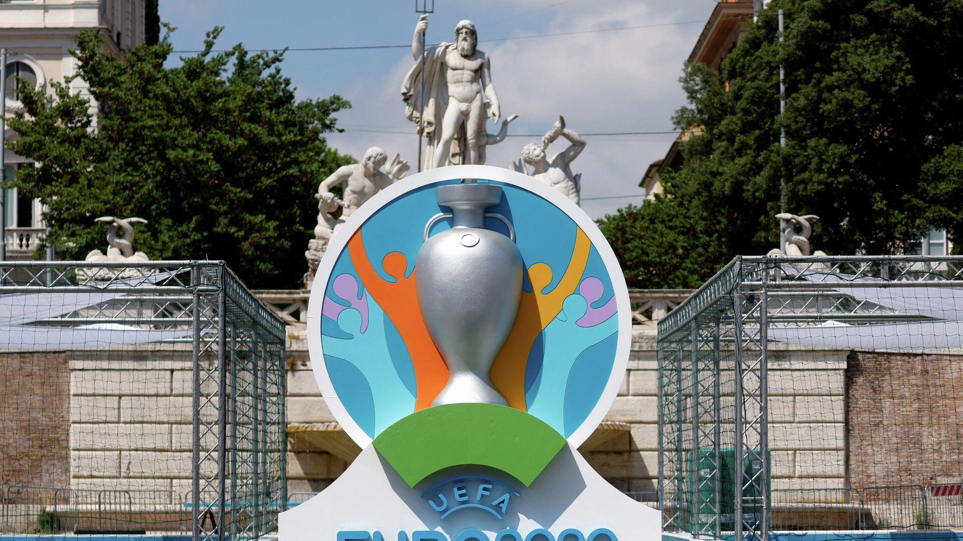 El logo de la UEFA en la Eurocopa 2020 - Sputnik Mundo, 1920, 22.06.2021