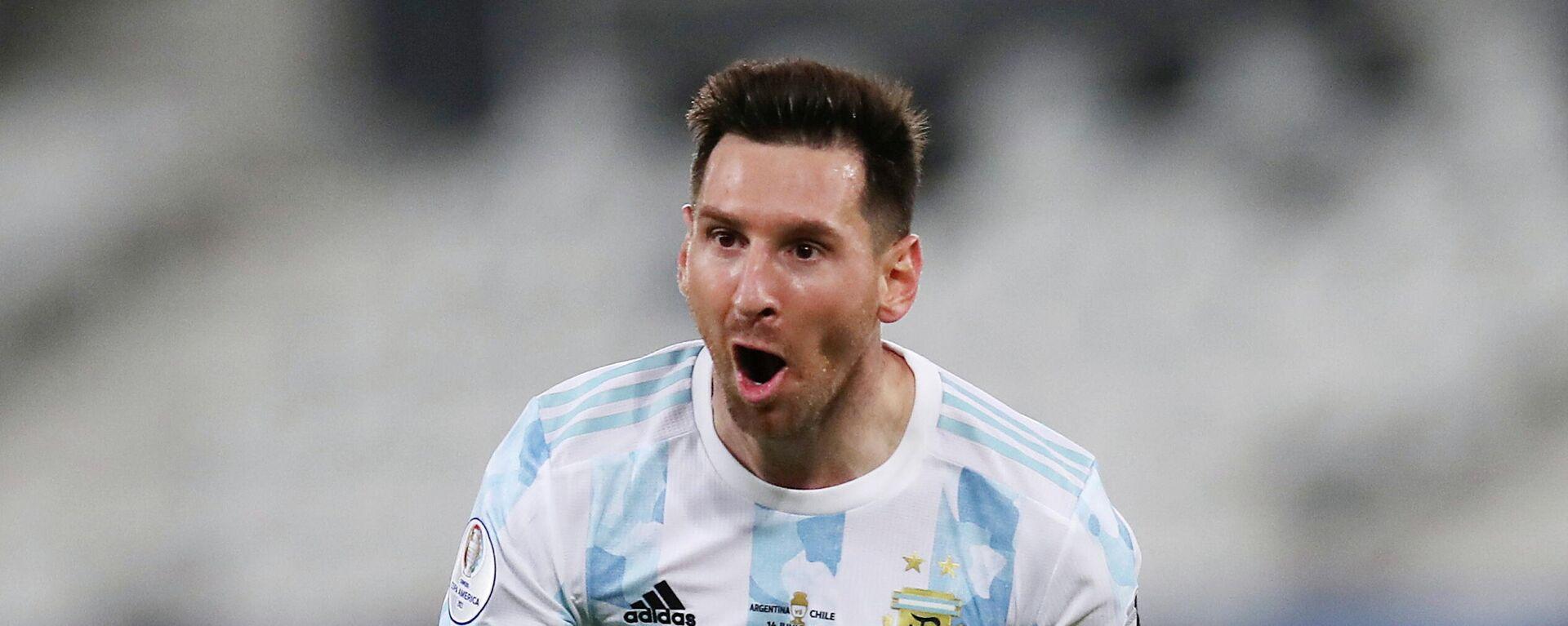 El delantero argentino Lionel Messi durante la Copa América 2021 - Sputnik Mundo, 1920, 18.06.2021