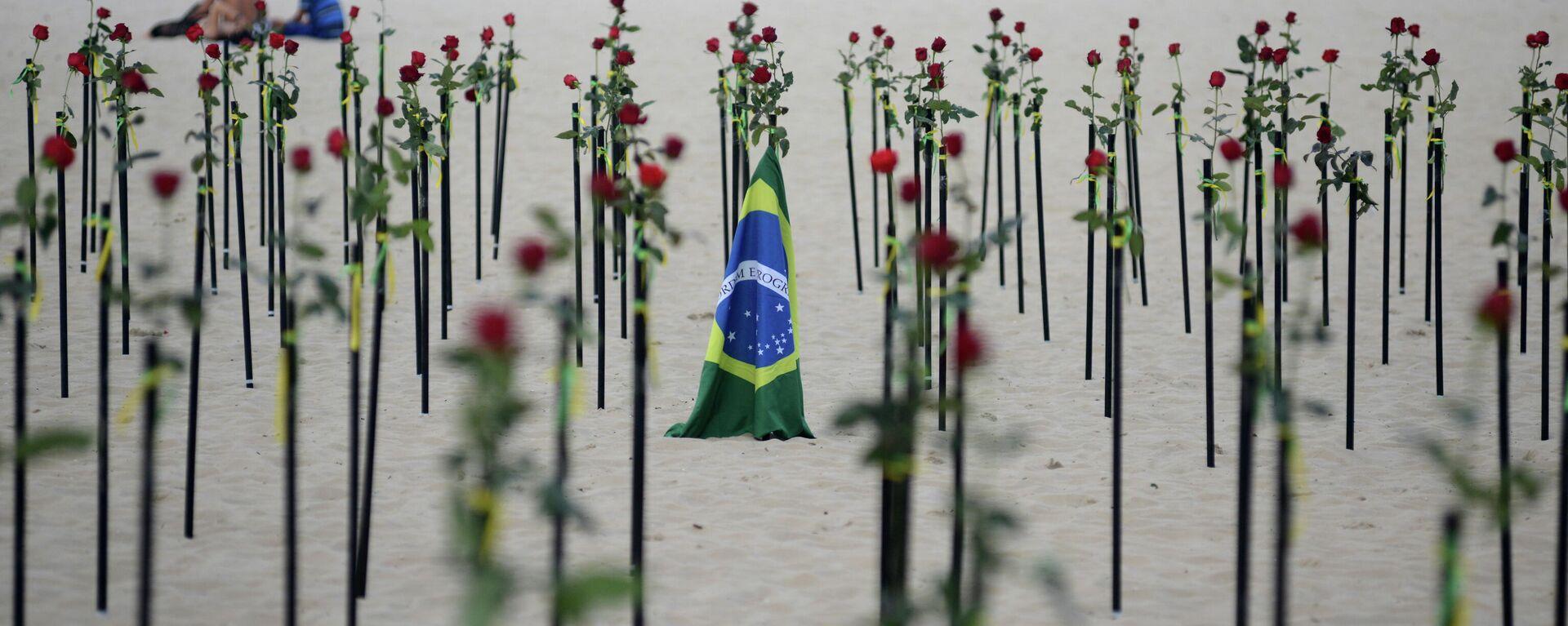 La playa de Copacabana recuerda al medio millón de muertos por el coronavirus en Brasil - Sputnik Mundo, 1920, 20.06.2021