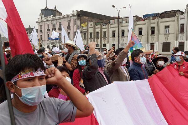 Movilización en respaldo a Pedro Castillo - Sputnik Mundo