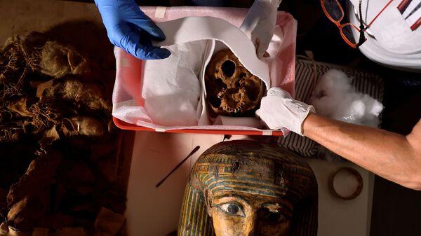 Ученые во время переноса египетской мумии в Милан из Бергамо  - Sputnik Mundo