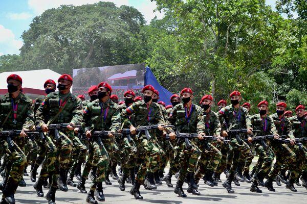 Práctica del desfile cívico militar por bicentenario de la batalla de Carabobo - Sputnik Mundo
