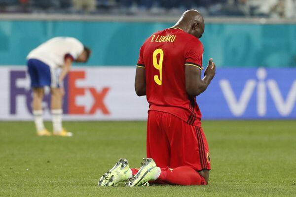 Romelu Lukaku (Bélgica) tras el final del partido de la fase grupal contra la selección rusa en San Petersburgo. - Sputnik Mundo